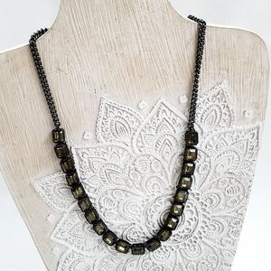 Fossil Black Metal Green Glass Necklace